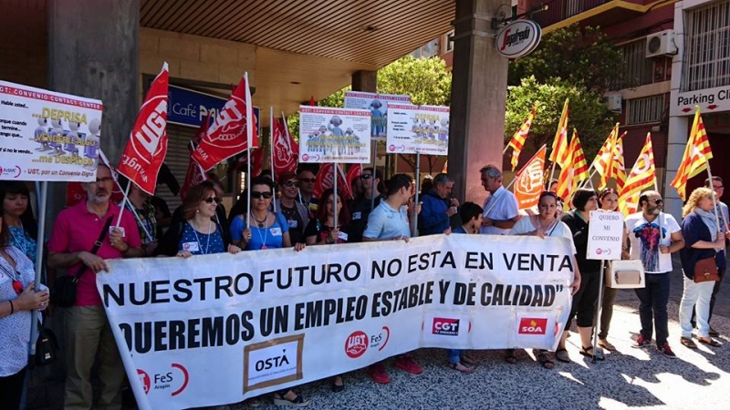 Los trabajadores de Contact Center se concentran en Zaragoza